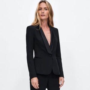 Zara Women's Black tuxedo blazer jacket Sz XS NWT